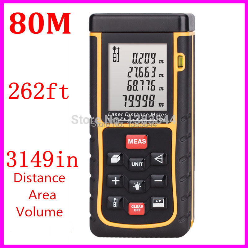 Laser distance meter 80m 262ft with Bubble Level Tool RZ80 measure Tape for Area/Volume M/in/Ft Rangefind Range finder free ship(China (Mainland))