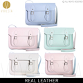 "13"" PASTEL BRITISH REAL LEATHER SATCHEL BAG - Vintage Candy Baby"