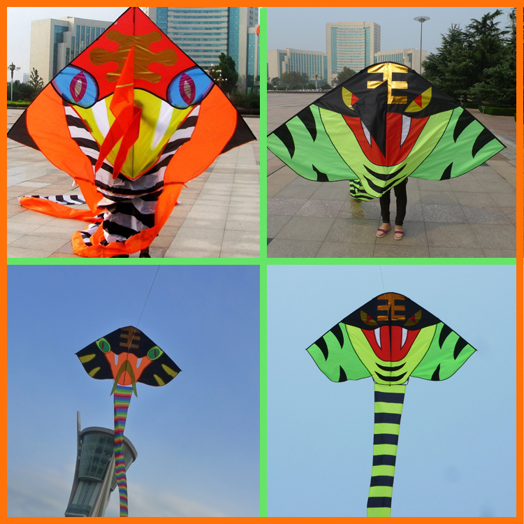 Free shipping high quality 15m pu fabric snake kite cobra large kite with handle line waterproof weifang kites factory(China (Mainland))