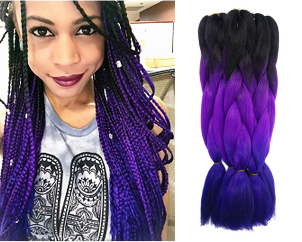 Purple Ombre Kanekalon Jumbo Braiding Hair Styles 24'' 100g African American Synthetic Purple&blue Colors - Natural Beauty Factory store