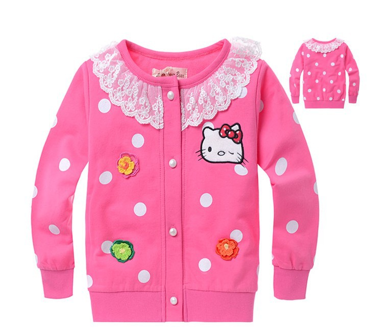 Hot selling free shipping new 2013 girl's hello kitty long sleeve coat lace cardigan chidlren corean fashion outer(China (Mainland))