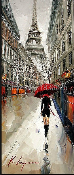 beautiful girl hold umbrella under Eiffel knife modern streetscape oil painting canvas painting wall pictures for living room(China (Mainland))