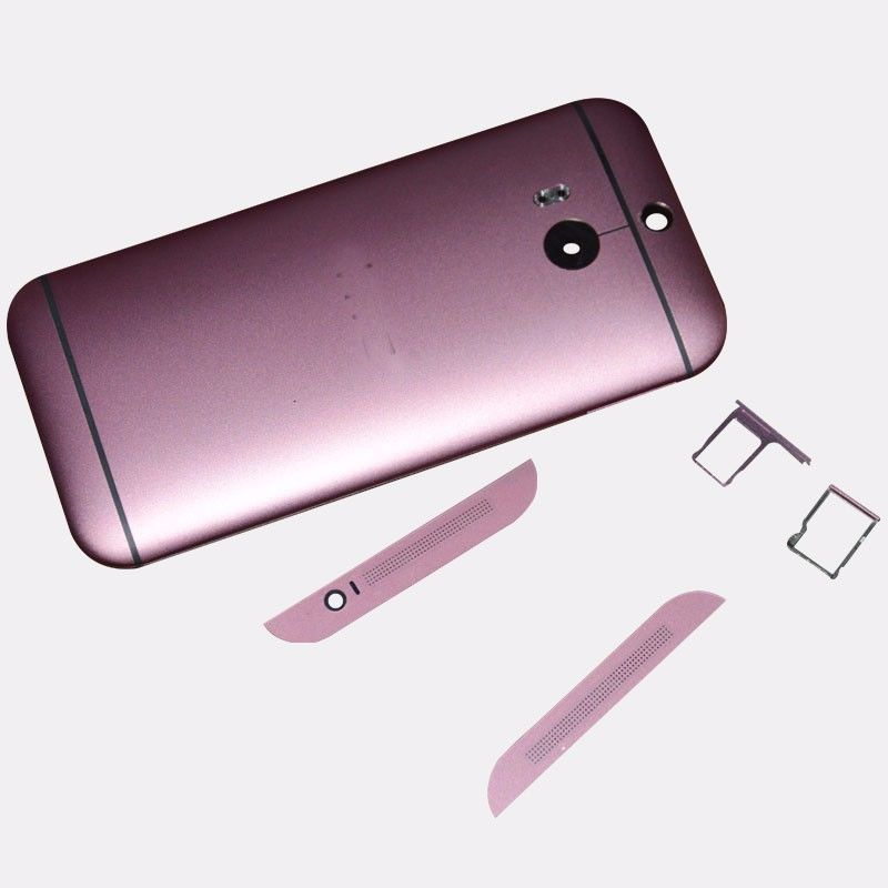 Pink Original HTC One M8 Housing Battery Back Case Replacement + Sim & SD Tray Top Buttom Cover m8 mobile phone cases - Shenzhen B Young Store store