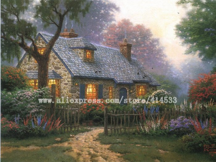 Thomas Kinkade Prints Original Oil Painting Foxglove Cottage Landscape Painting Modern Wall