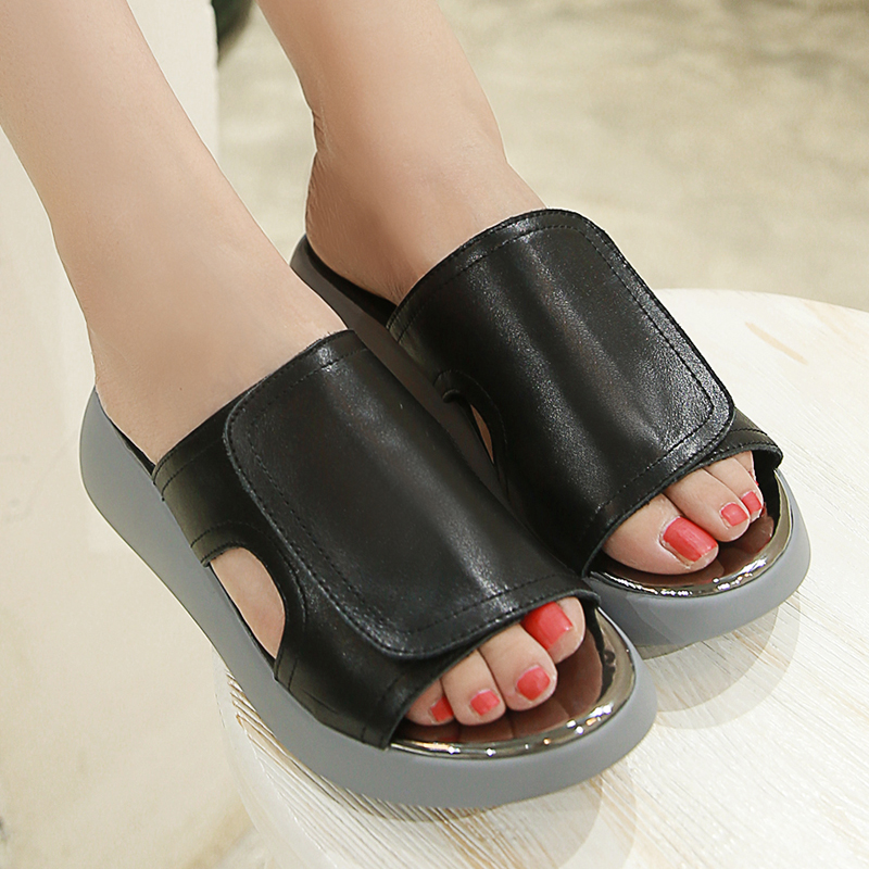 Summer Style2016Platforms Sandals Women Genuine Leather Wedge shoes Ladies casual shoes Slippers Beach sandals Sandalias Sapatos(China (Mainland))