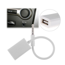 New 3.5mm Male Car Aux USB Audio Cable Cord MP3 Adapter Cable Adapter Usb 12V Flash Drive CD White Color CAR-0194-WT