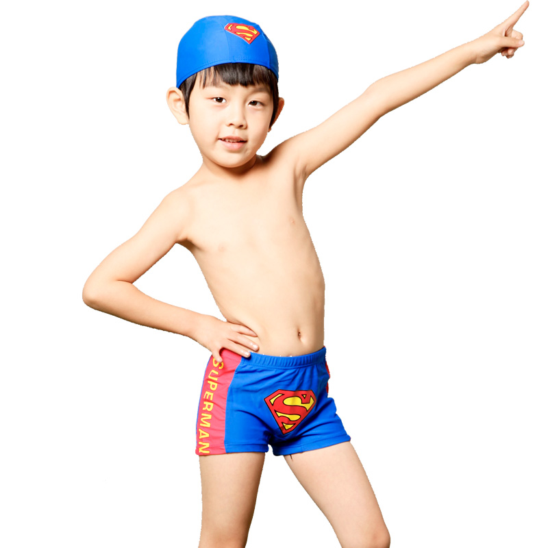 Small child male swim trunks boxer swimming trunk belt cap super man hot spring swimwear - lucky sweet's store