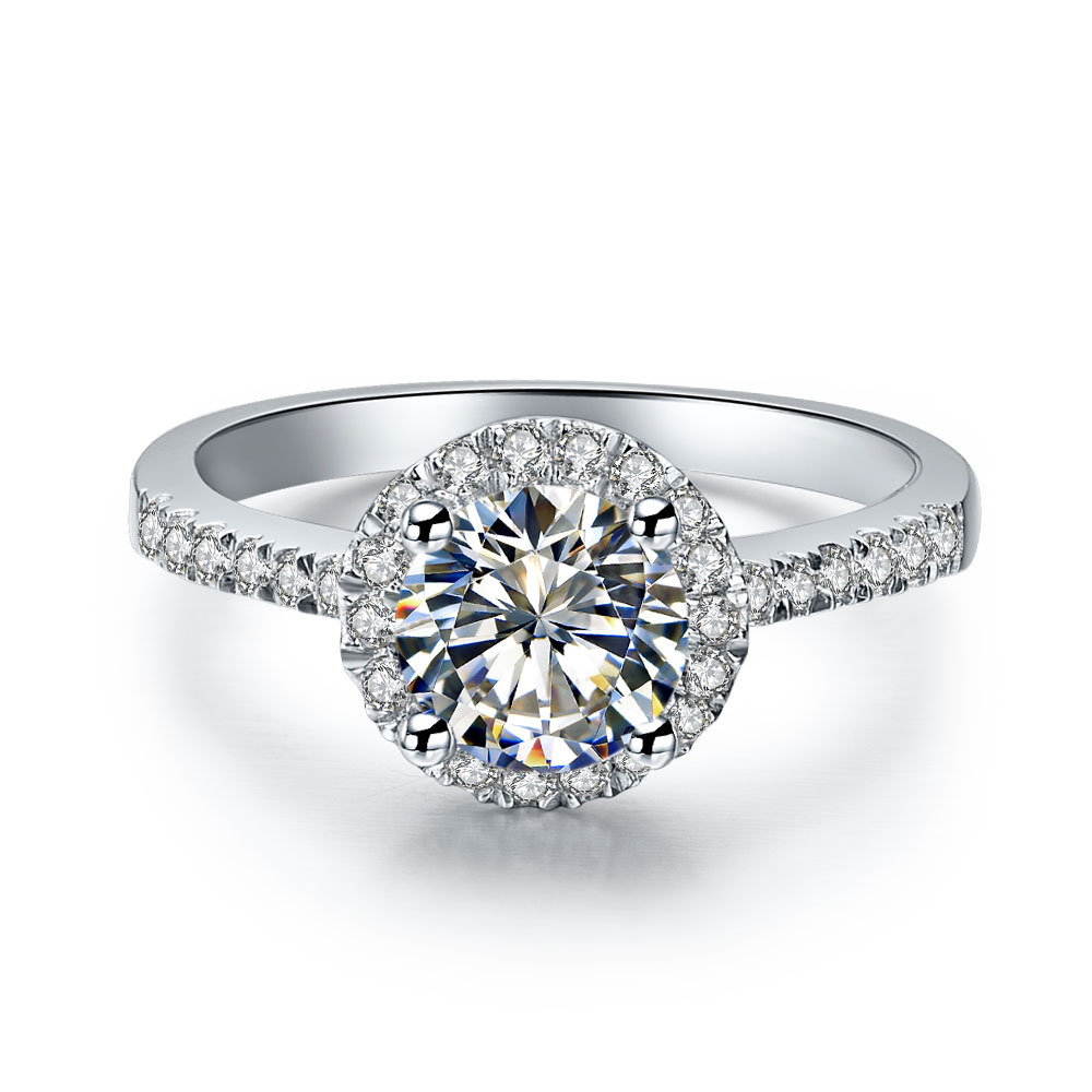 1 carat white gold 14k halo style faultless synthetic
