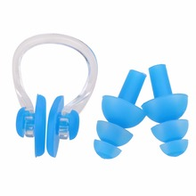 Soft Silicone Swimming Diving Nose Clips + 2 Ear Plugs Set Earplugs Gear with a case box Pool Accessories Water Sports L00349