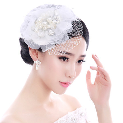 KPOP handmade flower fascinator rhinestone barrette hairdress for wedding bridal veil hair accessories pageant dress CY074(China (Mainland))