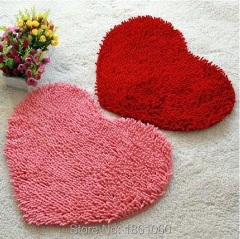 Пушистый спальня коврик ковровое покрытие коврик для ванной комнаты в форме сердца любви коврик 43 X 56 см синели