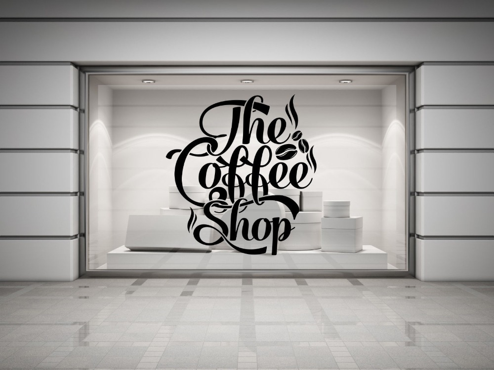 Coffee shop quote vinyl wall decal coffee lettering wall for Mural coffee shop