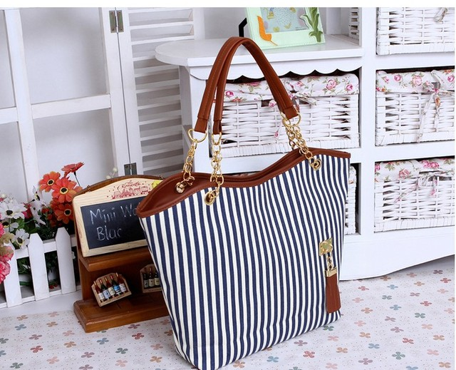 Free shipping Fashion New Women's Stripe Street bags Snap Candid Tote Shoulder Bag Handbags Canvas drop shipping