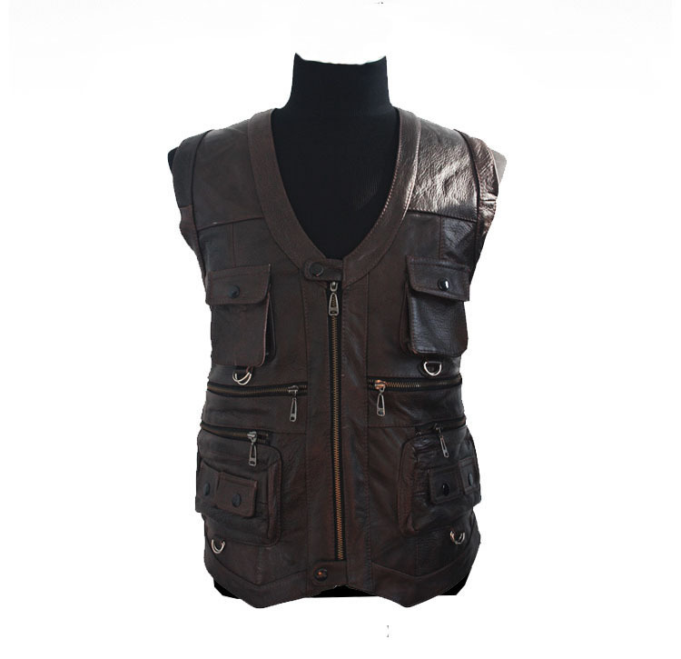 Men's Leather Coats vest cow leather Waistcoat cowskin jackers coat Outerwear jacket - yufang yuan's store