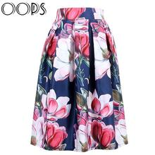 OOPS Ladies Skirts 2016 New Fashion Summer Clothes Sundress Vintage Floral Print Ball Gown Pleated Midi Skater Skirts A141114(China (Mainland))