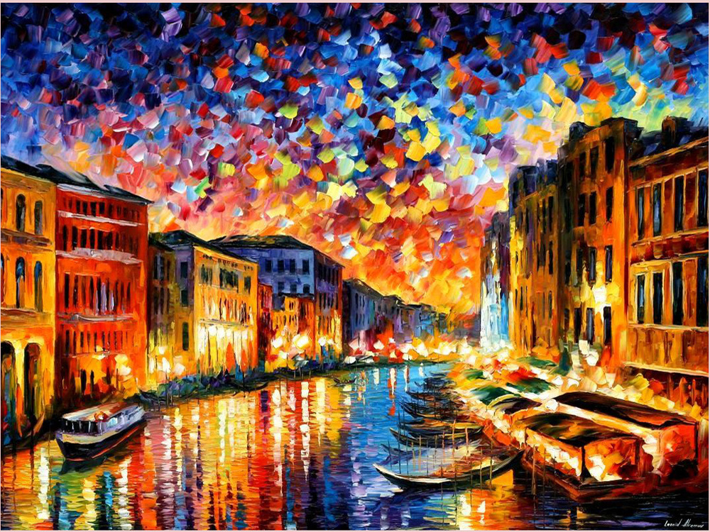 high quality 100% handmade VENICE - GRAND CANAL by Leonid Afremov huge no frame venice italy oil painting on canvas home decors(China (Mainland))