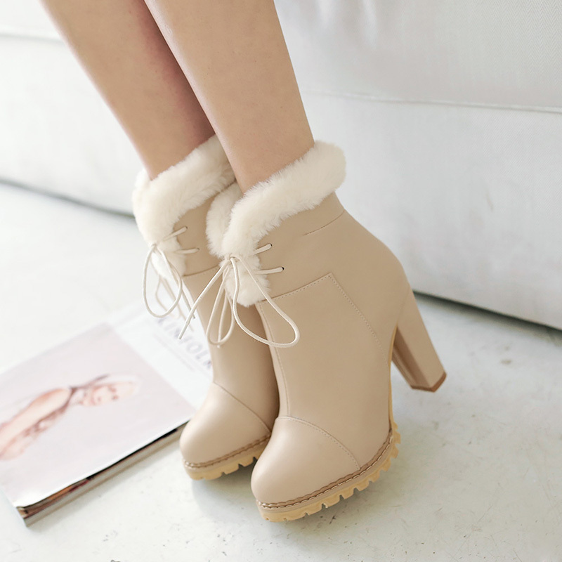 Фотография 2015 winter new ankle boots lolita fashion boots comfortable breath women boots frizzled feather high heels ankle bootsR122