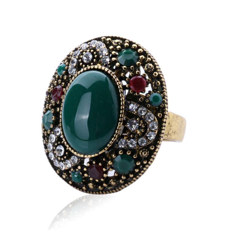 2015 Vintage Rings For Women 18K Gold Tibetan Silver Alloy Oval Turquoise Ring Ruby Jewelry Free