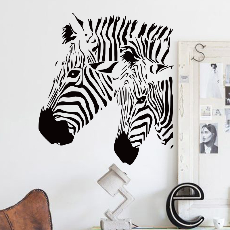 Art design cheap home decor vinyl beautiful zebra wall for Zebra decorations for home