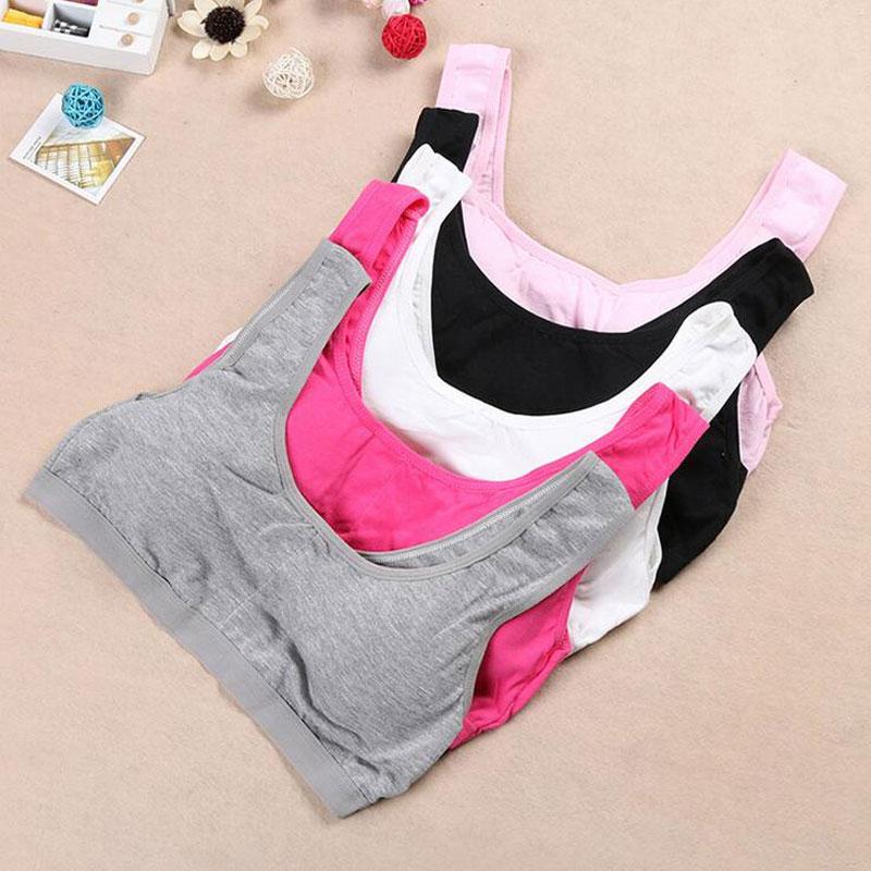 Solid Girl Training Wireless Underwear Breathable Sports Children's Bras Soft Teenage Bra Girls Cotton - Child Fashion Supermarket store