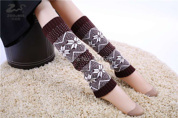 2015 New Hot Autumn Winter Snowflake Dot Leg Warmers Breathability Knitted Gaiters Women Keep Warmer Boot Cuffs Socks W-33 - LY DIY & Wedding store