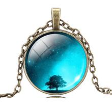 New Glass Galaxy Pendant Necklace Antique Bronze Chain Necklace Choker Statement Fashion Jewelry For Men Women