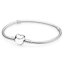 New Silver Plated Bead Charm Love Heart Clasp Snake Chain Beads Fit Women Pandora Bracelet Bangle DIY Jewelry With Logo HKW0001(China (Mainland))
