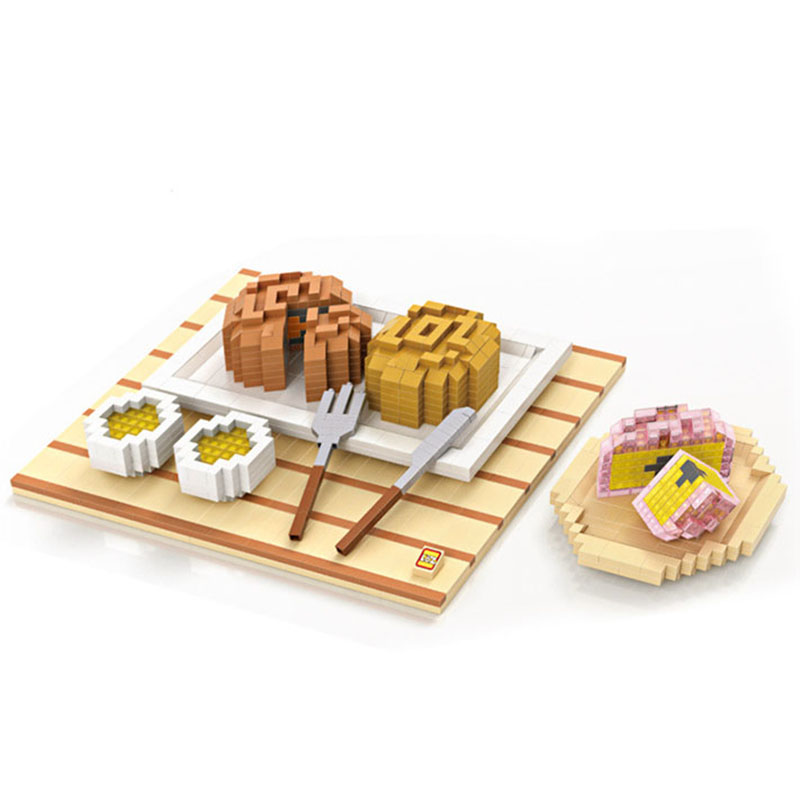 Фотография Moon Cake Diamond Building Blocks Food Set Model Sushi McDonald Mini Assembled Bricks Gifts For Children Knowledge