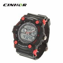 Pasnew impermeable del deporte del cuarzo analógico Digital reloj de pulsera w / alarma / temporizador