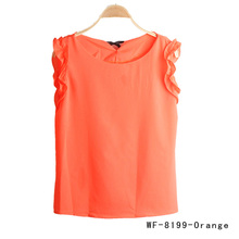 Summer Style Lady Charming Tops Round Neck Lotus Leaf Shaped Pullover Lace Chiffon Woman Blouse 7 Colors WF-8199(China (Mainland))