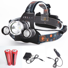 Best 6000 Lumen CREE XM-L T6 LED Headlamp Headlight Caming Hunting Head Light Lamp 4 Modes +2*18650 Battery + AC/Car Charger(China (Mainland))