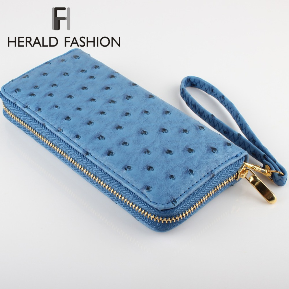 Design Fashion Women Wallets with Strap High-grade PU Leather Ostrich Grain Wallet Purses and Handbags Clutch Carteras Mujer(China (Mainland))