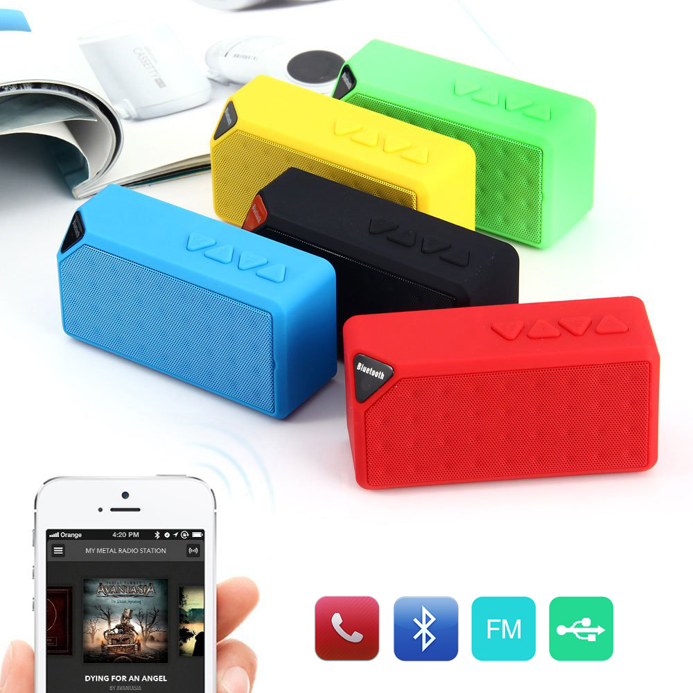 Mini Bluetooth Speaker X3 TF USB FM Radio Wireless Portable Music Sound Box Subwoofer Loudspeakers with Mic for iOS Android(China (Mainland))