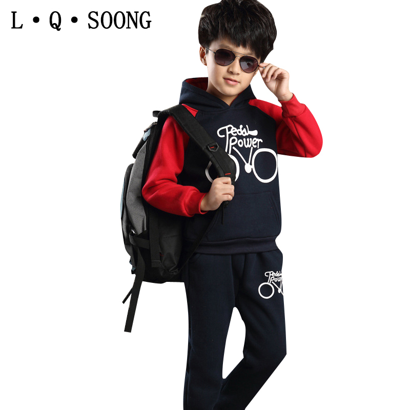 L Q SOONG Brands 2016 autumn winter clothes for girls boys set Hooded Sweatshirts + pant 2pcs Children's set bicycle sports suit(China (Mainland))
