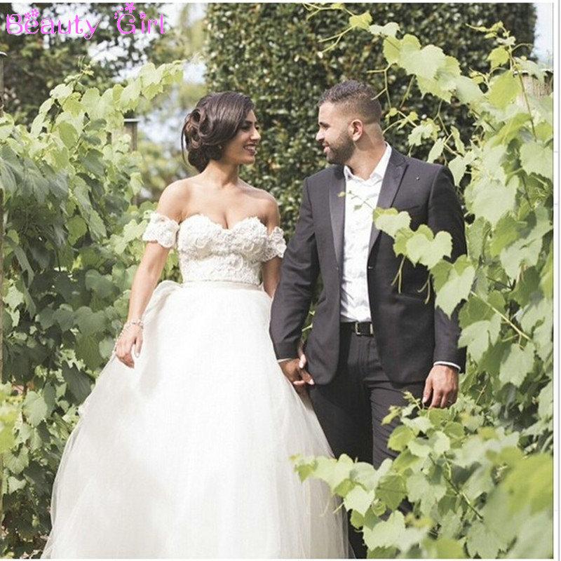 Vestido de noiva 2016 romantic sweetheart lace top wedding for Off the shoulder tulle wedding dress
