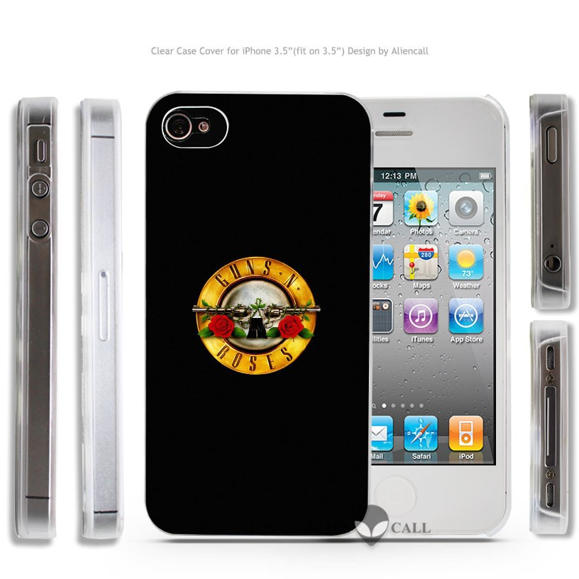 ac74 guns n roses logo music dark Hard Transparent Clear Case Cover Coque Shell for iPhone 4 4s 5 5s 5c 6 6 Plus