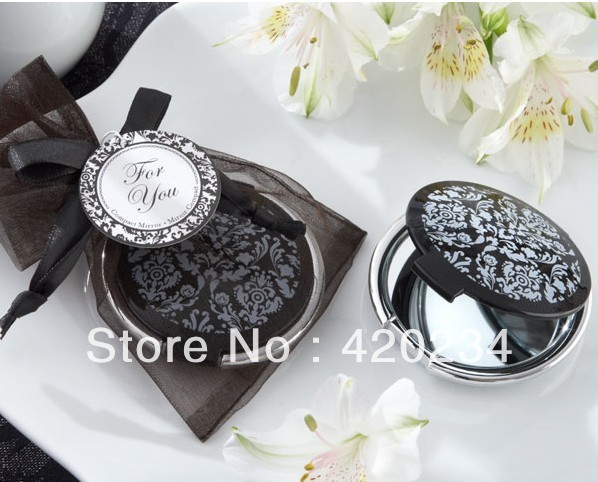 Black And White Wedding Supplies : Elegant black and white mirror compact centerpieces wedding favors
