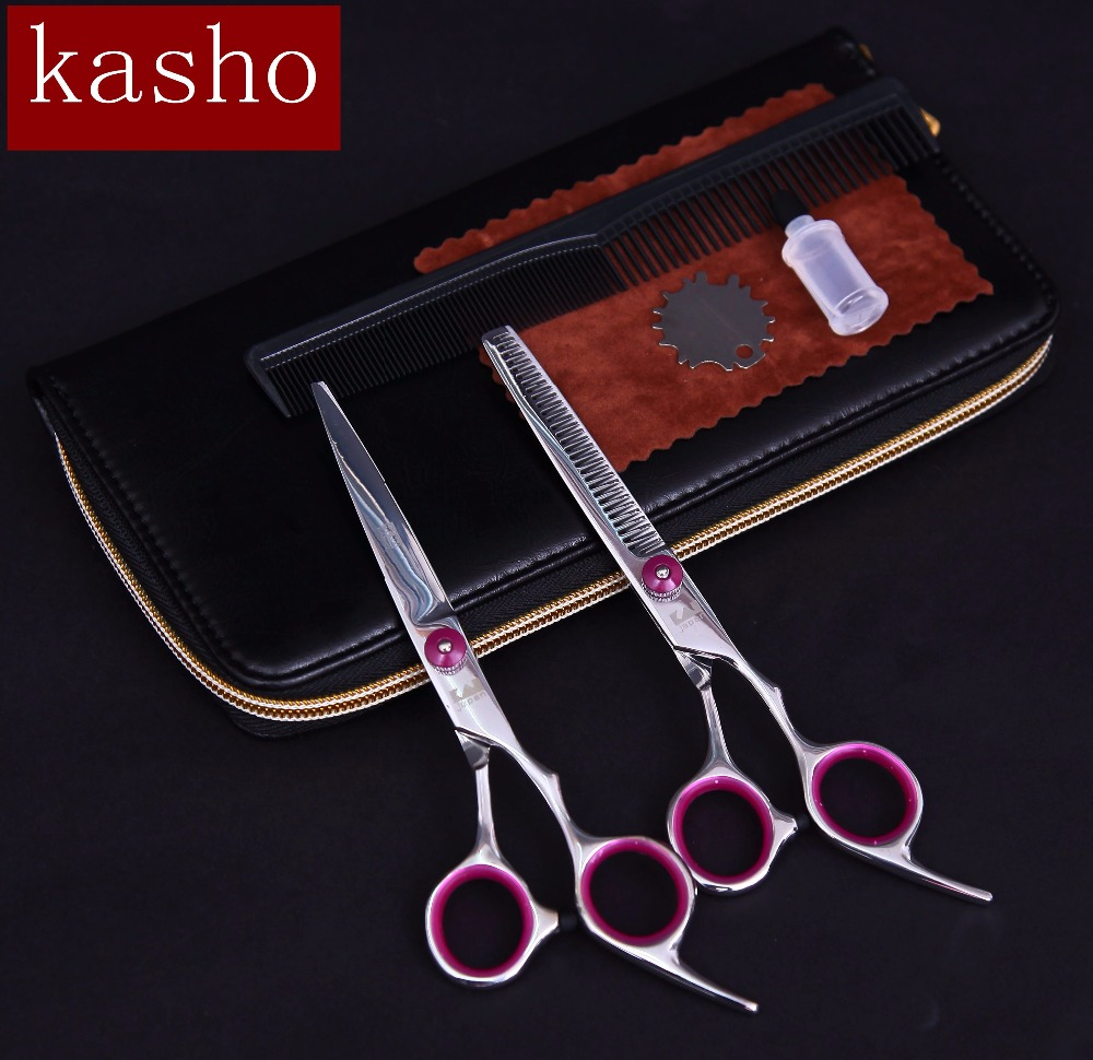 Japan kasho Professional Hairdressing scissors hair cutting scissors barber scissors thinning shears set haircut scissors(China (Mainland))