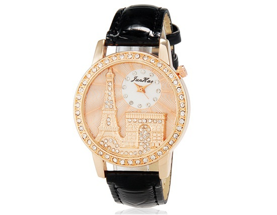 New 2014 Womens Eiffel Tower Crystal Decorated Analog Watch with Faux Leather Strap Trendy Watch Brands Originals Free Shipping(China (Mainland))