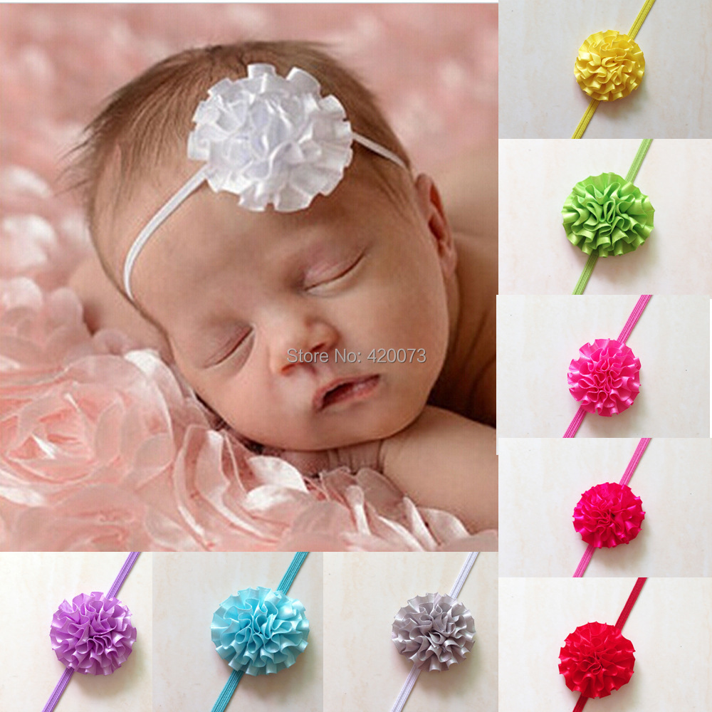 Free Shipping 24 Pcs/lot Baby Cute Thin Headband,Satin Flower Elastic Headbands For Kids,Infant Flower Hair Band CNHBD-14111004(China (Mainland))