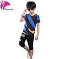 Children s Clothing Set Boys Summer 2016 Kids Short sleeve Leisure Suits Cotton Striped Shorts Casual