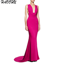 2016 Autumn and Winter New Ladies Party dresses vestidos Sexy Deep V sleeveless Trumpet Rose red fishtail long dress 6020 DX
