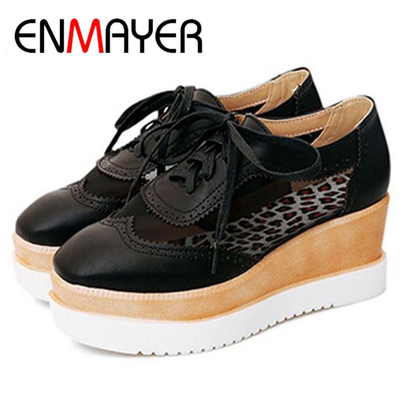 Enmayer Spring New Plus Women Flats Oxford Shoes Women Fashion Vintage British Style Lace Up
