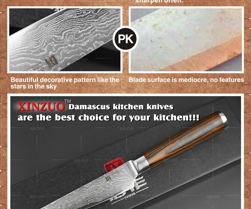 "Buy XINZUO 5"" utility knife high quality Japanese VG10 Damascus steel kitchen knives table knife wood handle fashion FREE SHIPPING cheap"