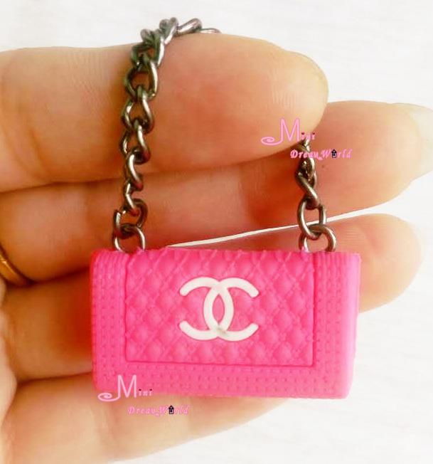 1/6 Scale Dollhouse Miniature Metal Chain Plastic Rose pink Color TOY Lady Handbag Bag()