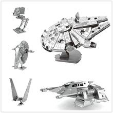 3d assemblaggio modello in metallo star wars metallo terra millennium falcon/xwing/distruttore droid nano puzzle fai da te regalo cinese iconx(China (Mainland))