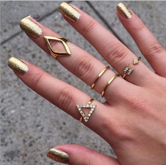 Hot Sale 2015 Vintage Punk14K Gold & Silver Plated Crystal Geometric Triangle Mid Finger Rings 5pcs/Set Wholesale wedding rings(China (Mainland))