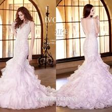 2016 Popular Lace Pink Wedding Dress Mermaid V Neck Organza Ruffles Bridal Gowns wedding dresses(China (Mainland))