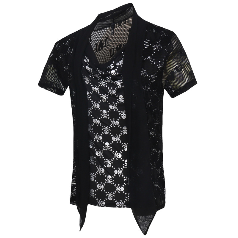 New Skull T Shirt Men Casual Printed Cotton T-shirt Men Brand Fake Designer Clothes Sexy Summer Short Sleeve Top Tee Shirt Homme(China (Mainland))