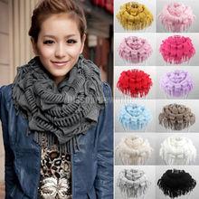 2014 Hot Fashion New Women Winter Warm Knit Fringe Tassel Neck Wrap Circle Snood Scarf Shawl 13 Colors